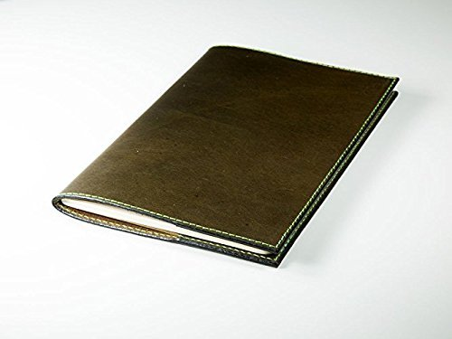 Personalized Leather Journal Moleskine Cahier Notebook with Lined Paper Refillable Leather Cover of Olive Color Soft Full-Grain Horween Dublin Leather Vintage Journal Embossed with Initials or Name Different Sizes Field Notes