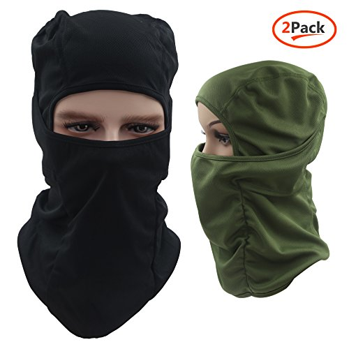 Dseap Balaclava Hood/Skiing Face Mask, 2 Packs Multi-Purpose Thin Breathable Winter Cold Weather Motorcycle Bike Bicycle Helmet Cycling for Youth Adult Women Ladies Men, Black & Army Green
