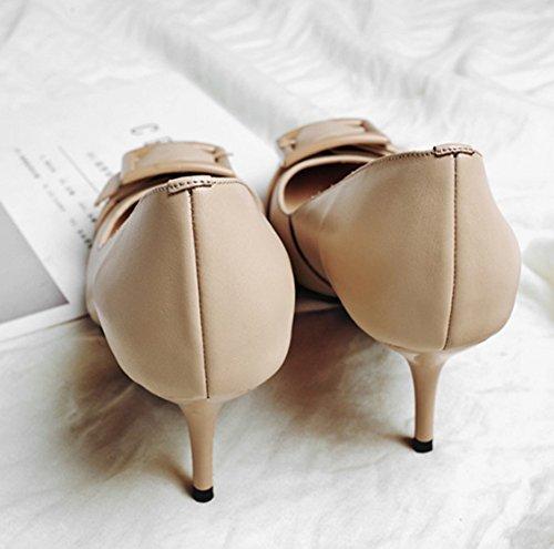 profonde femmes bouche Carrière Automne Couleur Chaussures Véritable célibataires peu Femmes hauts talons et Pointu talon Chaussures Haut Printemps pour mince Confortable HJHY chaussures Europe Abricot Cuir pUXRwR