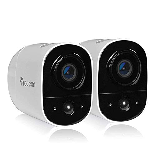 TOUCAN Wireless Outdoor Camera with Rechargeable Battery, Free Cloud Storage, Add 1 User, 1080P FHD with PIR Motion Sensor, Night Vision, Siren Alert, Works with Google & Alexa (2 Camera)