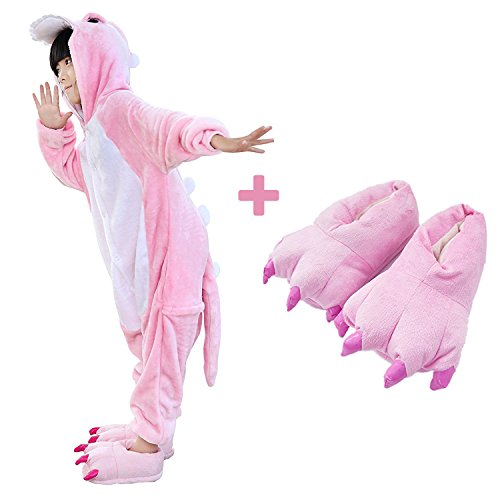 Kids Unisex Dragon Onesie Pajamas Animal Costume Sleepwear with Monster Slipper (Pink Size 5) ()