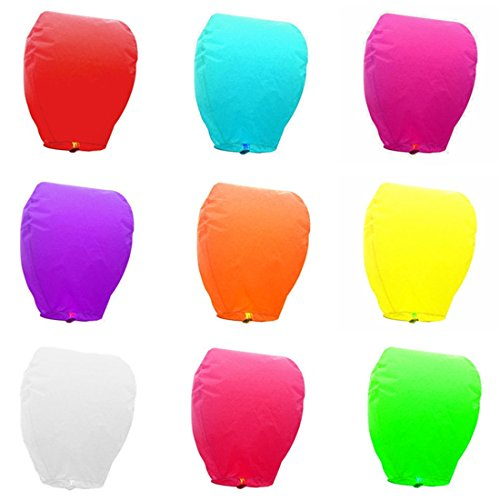 Sky High Colorful Chinese Lanterns Biodegradable Paper Lanterns flame retardant paper Multicolor Assortment for Birthdays, Parties, New Years, Memorial Ceremonies, and More – 10 (Party City Floating Lanterns)
