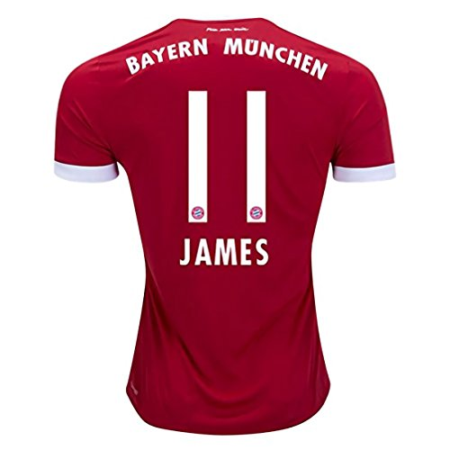 2017/2018 New James Rodriguez #11 Bayern Munich 17/18 Home Soccer Jersey Men's Color Red Size M