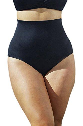 Swim Sexy Black Plus Size High Waisted Brief Plus Size Swimwear - Black - Size:22