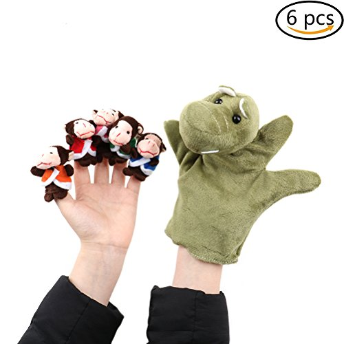 Yiphates 6Pcs Animal Finger Puppets Set, Five Little Monkeys Setting in a Tree