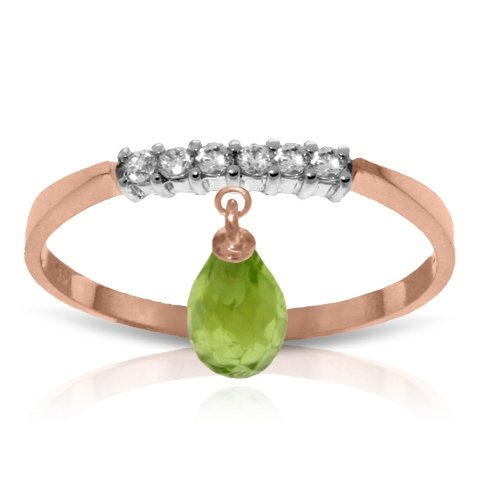 14k Rose Gold Genuine Diamonds and Natural Peridot Charm Ring - Size 7.0