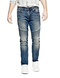 GUESS Factory Slim Tapered Moto Jeans