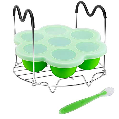 Pressure Cooker Accessories with Silicone Egg Bites Mold and Steamer Rack Trivet with Heat Resistant Handles for Instant Pot Accessories 6 Qt 8 Quart, 2 Pcs with 1 Bonus Spoon (Green)