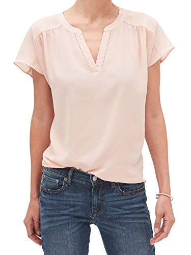 - Banana Republic Womens V-Neck Notch Collar Dolman Sleeve Tank Top Blouse Peachy Keen Pink (Large)