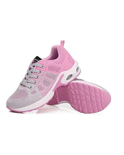 Zapatos de Libre Gris de Malla La Mujeres Aire Adolescentes de Universidad Superior Amortiguador Transpirable Al Zapatos Viajes Cordones Rosado Running Colorido con Aire qaPax7p