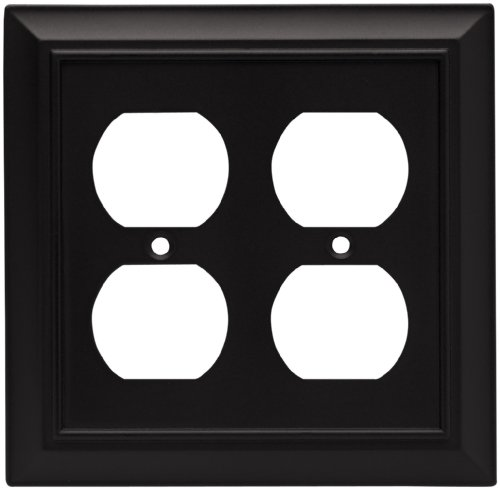 Brainerd 64210 Architectural Double Duplex Outlet Wall Plate / Switch Plate / Cover, Flat Black
