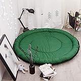 Lcxligang Nordic Solid Color Rug Rug Round Rug Rug Cotton Yoga Mat (Color: Dark Green, Size: 140 cm)
