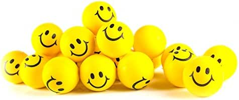Neliblu Why Worry? Be Happy! Neon Yellow Smile Funny Face Stress Balls - Happy Smile Face Stress Balls Bulk Pack of 24 2