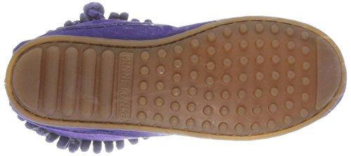 Minnetonka Double Fringe Side Zip Mädchen Kurzschaft Mokassin Boots Violett (Purple)