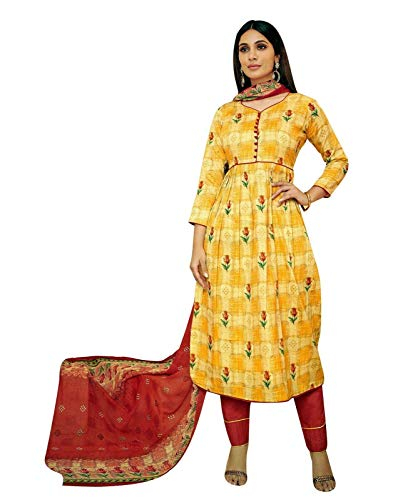 Ladyline Casual Cotton Printed Salwar Kameez Ready to Wear Indian Pakistani Dress Suit (Size_34/ Yellow)