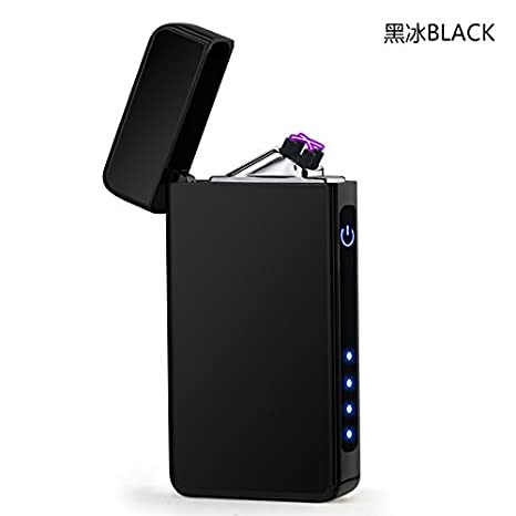Aibote Dual Arc Plasma Metal Cigarette Lighter,With Touch Sensor Switch,Power Indicator LED Lights,Electric Flameless Windproof USB Rechargeable Lighters