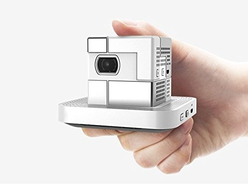 SK UO Smart Beam White Pearl 1.8-inch Cube Portable Mini Mobile Projector Wired/Wireless Max.100 Lumens DLP 20,000 Hour LED 120