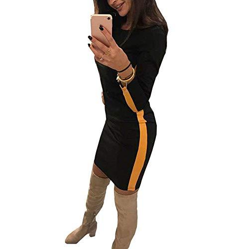 Ladies Manica Lunga Dress Vestito Retro Elegante donne O Cocktail Nero Splicing Sexy Cloom Magro Mini Cerimonia Festa Abito Sera Donna Casual collo rBoxWedC