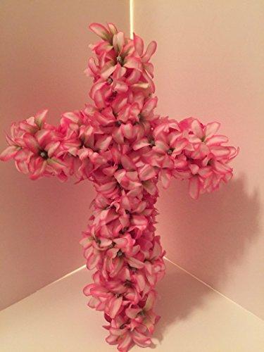 Medium Easter Cross Wall Decor - White/Pink Hyacinths