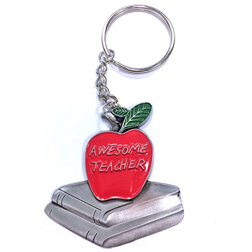 - Awesome Teacher Red Apple Antique Pewter Finished with Split Keyring and Chain - Pack of 3