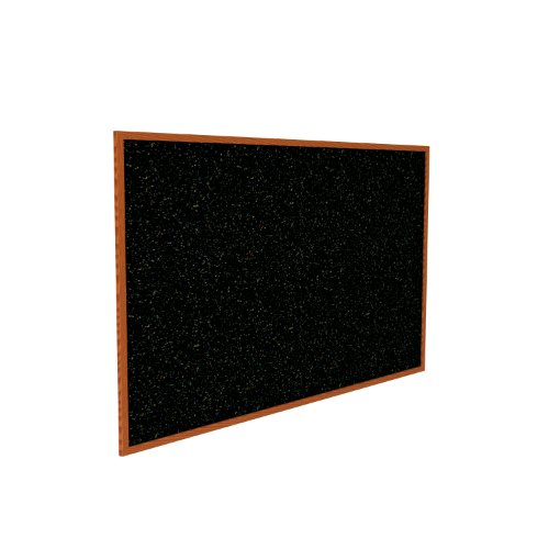 Recycled Bulletin Board Surface Color: Confetti, Frame Finish: Cherry Oak, Size: 3'1
