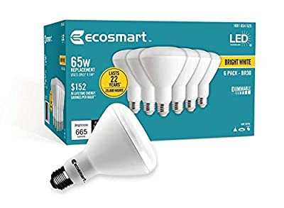 Ecosmart Bright White LED BR30 Dimmable Flood Bulb, 65W Replacement, 9 Watt, 655 Lumens - 3000K - Indoor/Outdoor Rated