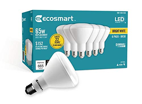 Ecosmart Bright White LED BR30 Dimmable Flood Bulb, 65W Replacement, 9 Watt, 655 Lumens - 3000K - Indoor/Outdoor Rated (6-Pack)