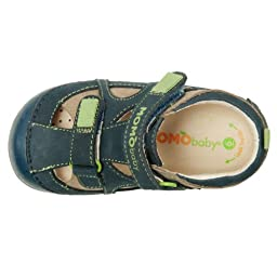 Momo Baby Boys First Walker/Toddler Thomas Taupe/Navy Leather Sandals - 5 M US Toddler