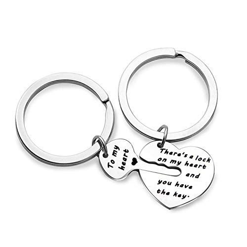 Couple Jewelry Gift Heart and Key Keyring Set There's a Lock on My Heart You Have The Key Boyfriend Girlfriend (Couple Keyring Set) (Your The Best Boyfriend Ever Poems)