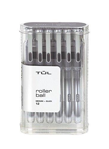 - TUL RB1 Roller Ball Pens, Medium Point, 0.7 mm, Silver Barrel, Black Ink, Pack Of 12