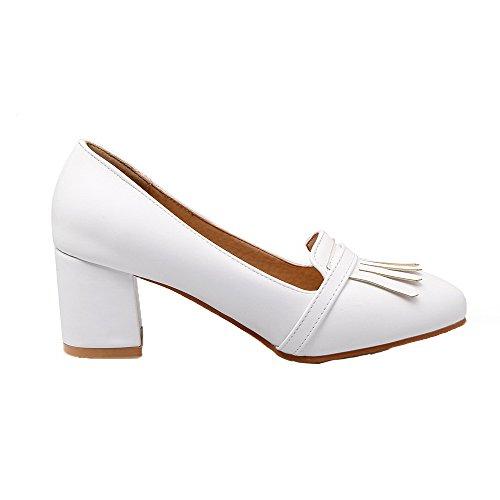 AmoonyFashion Womens Buckle Kitten-Heels PU Fringed Pumps-Shoes White npFPtQJAT