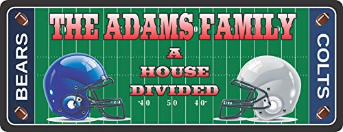 House Divided Personalized Sports Sign for Football Fans - Football Themed Sports Home Decor with Your Custom Name