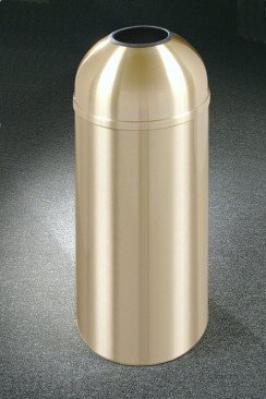 Glaro Atlantis Open Dome Top Waste Receptacle, 16 Gal, 15 inch Dia x 36 inch H, All Weather Satin Brass