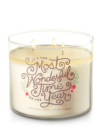Bath and Body Works White Barn 3 Wick Candle Fresh Balsam It's The Most Wonderful Time Of The Year Theme
