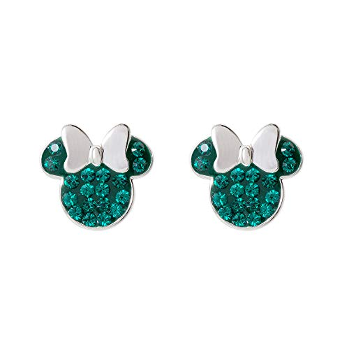 (Disney Minnie Mouse Birthstone Jewelry for Women, Sterling Silver Pave Crystal Stud Earrings Mickey's 90th Anniversary, May)
