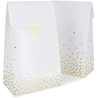 Party Favor Bags, White with Gold Foil Confetti (24 Pack)