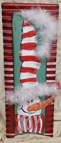 - Striped Snowman JOY Metal Wood Sign