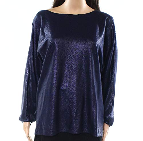 Lauren Ralph Lauren Women's Metallic Dolman-Sleeve Sweater (Navy, XX-Large)