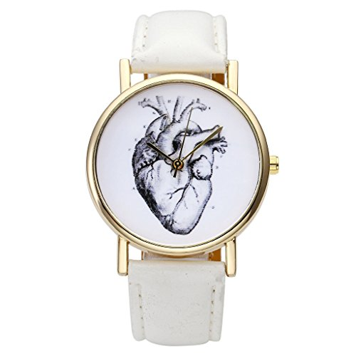 Top Plaza Beating Leather Watch White