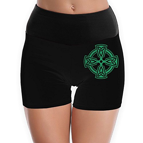 Celtic Cross Knot Irish Shield Warrior - Foldover Yoga Shorts Gym Shorts Boy Cut Athletic Shorts (Celtic Warrior Knot)