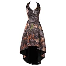 DressyMe Affordable Prom Party Dresses Hi-Lo Halter Camo Ball Dress with Corset