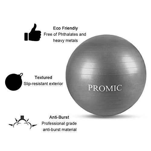 PROMIC Professional Grade Static Strength Exercise Stability Balance Ball with Foot Pump,65cm,Black by PROMIC (Image #5)