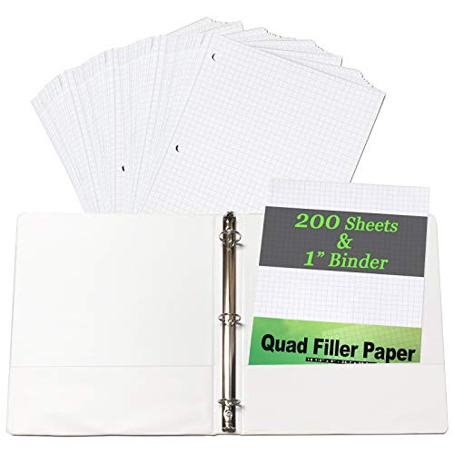 - GIFTEXPRESS 200 Sheet Quad Paper 4 Squares Per Inch with 1 Inch 3 Ring View Binder, Great Graph Paper for Geometry and engineers - White