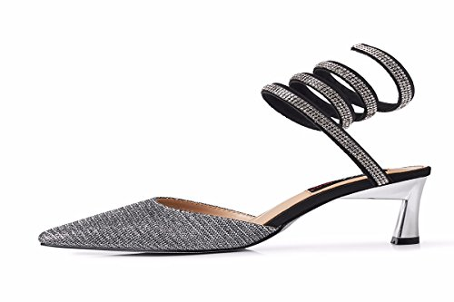 Spring Five Thin Silvery Thirty Summer 7Cm Sexy Singles Sandals Pointed Shaped Wild High And Sharp Snake Heeled KPHY Women'S Shoes Shoes Baotou Women'S Feet BqwXf6
