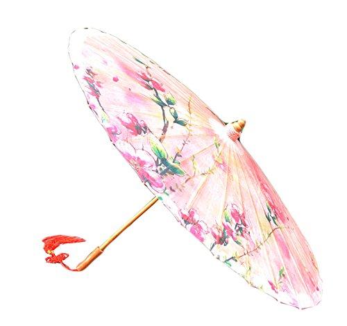 Umbrella Oiled Paper - [Pink Peach Blossom] Rainproof Handmade Chinese Oil Paper Umbrella 33 inches