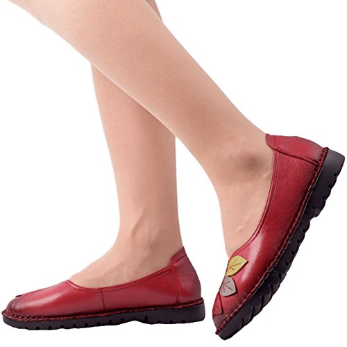 Btrada Womens Mocassini Comodi Scarpette Colorate Foglia Guida Mocassini Casual Scarpe Basse Slip-on Boat Rosse