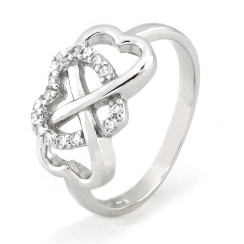 925 Sterling Silver Cubic Zirconia Infinity and Heart Ring, Size 8
