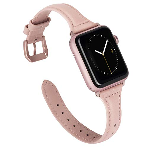 Wearlizer Slim Leather Compatible for Apple Watch Band 38mm 40mm Womens for iWatch Strap Wristband Sport Cute Replacement New Beauty Bracelet(Metal Rose Gold Buckle) Series 4 3 2 1 Edition-Rose Pink
