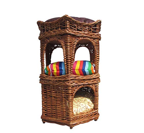 GLMAMK Handmade Cat Kennels, Wicker Multilayer Cat Nest Villa, 3 Platform Cat Tree Scratching Post]()