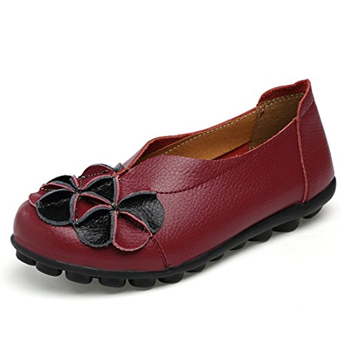 O&N Women Ladies Leather Casual Loafers Flat Boat Driving Shoes Slip Ons Wine